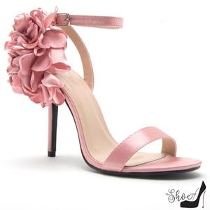 The Shoe Loft Shoes - Amber Blush Pink Peony Satin Strappy Heel Sandals